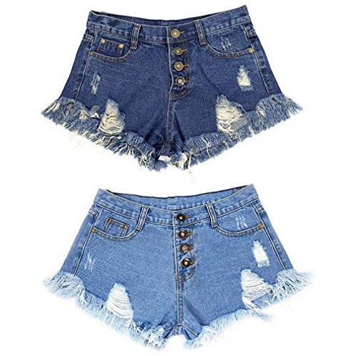 Ample Short Hot Plage Et Femme Taille Bleu Jean Short Basique Clair COMVIP Trous Haute qA4HnT