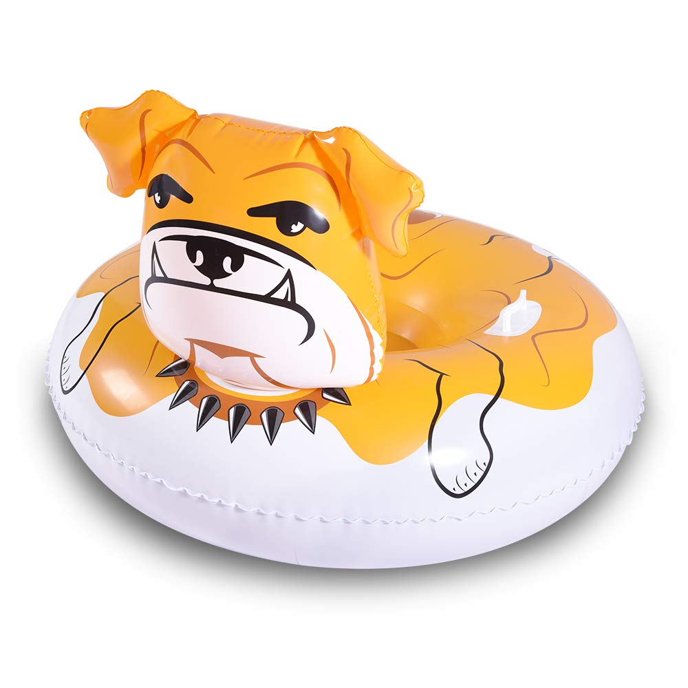 WateBom Snow Tube with Bulldog Design, Inflatable Snow Sled for Kids or Adults, 48 Inches Heavy Duty Snow Toys with Two Handles and Comfortable Backrest