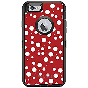 "CUSTOM Black OtterBox Defender Series Case for Apple iPhone 6 PLUS (5.5"" Model) - Red White Bubbles Polka Dots"