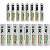 EBL16 Sets Batteries Combo Including 8 Pieces AA 2300mAh and 8 Counts AAA 800mAh Rechargeable Batteries