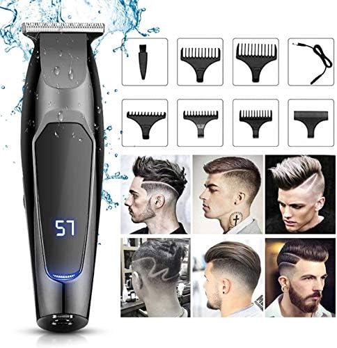 プロのヘアクリッパーズ、充電式ヘアカットトリマーセット、メンズ/キッズ/ベビー/理容室グルーミングキットカッター、ガイド櫛ブラシ付き防水散髪理髪師トリマーキットの髪切断機 lsmaa