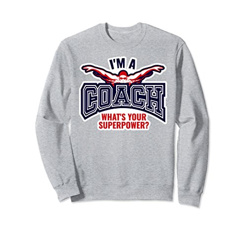 Unisex Funny Swim Coach Sweatshirt For Women Gift Top 2XL Heather Grey Coach Womens Sweatshirt