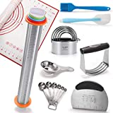 HULISNE 9 Pcs Pastry Cutter Set, Adjustable Rolling Pin, Dough Blender, Biscuit Cutter, Pastry Scraper, Measuring Spoon, Egg Separator, Silicone Baking Mat, Pastry Brush, Spatulas, Gift Package