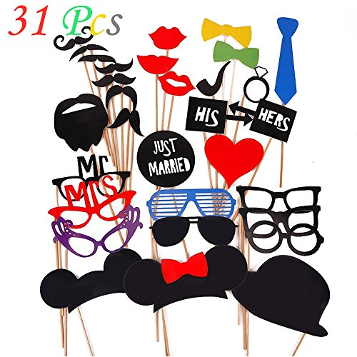 Coffled 8PCS Red Ties and Mustache Dress up Party Acessories Set,Photo Booth Props Kit for Wedding and Graduation Party