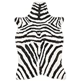 3'6 x 5'6 Charcoal Ivory Hand Tufted Stripe Faux Fur Zebra Shag Area Rug, Polyester Lively Safari Animal Africa Wilderness Shaggy Novelty Free Form, Indoor Bedroom Living Room Accent Carpet