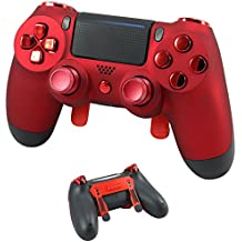 PS4 Elite Soft Touch Red Chrome Custom Controller with Paddles, Trigger Stops. Professional level graded equipment. Tournament approved and legal! For FPS games, COD WW2, Fortnite, Destiny