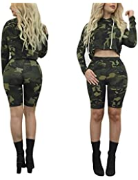 Camouflage Sport Suit,Hemlock Women Long Sleeve Hooded Top Coat Shorts Pants (M, Army green)