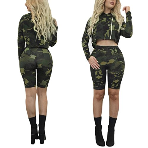 Camouflage Sport Suit,Hemlock Women Long Sleeve Hooded Top Coat Shorts Pants (S, Army - Shorts Female Suits