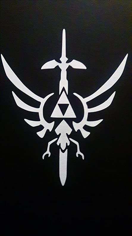 Legend of zelda triforce master sword crest vinyl decal stickerwhitecars trucks vans
