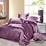 Newrara Summer Silk Bed Set Bedding Set Bed Linen Silk Bedclothes Silk Flat Sheet Set Purple Solid Color 4pcs (King (not include comforter))