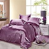 Newrara Summer Silk Bed Set Bedding Set Bed Linen Silk Bedclothes Silk Flat Sheet Set Purple Solid Color 4pcs (Queen (not include comforter))