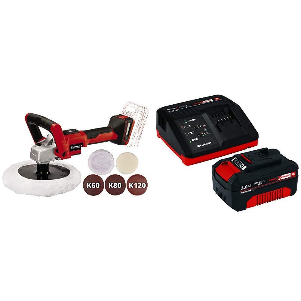 Negro Einhell M/áquina pulidora//lijadora con bater/ía Rojo Kit cargador con bater/ía 18 V, 3.0 Ah, tiempo de carga de 60 minutos