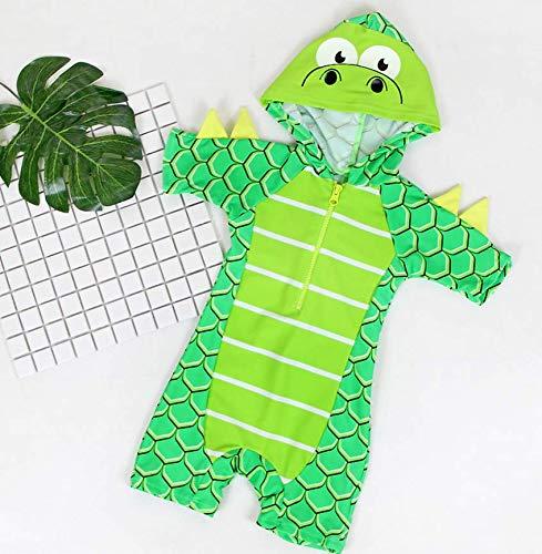 FAYALEQ Kids Baby Boys Girls Cartoon Dinosaur Rash Guard Short Sleeve Swimming Costume One-Piece Zip Swimsuit