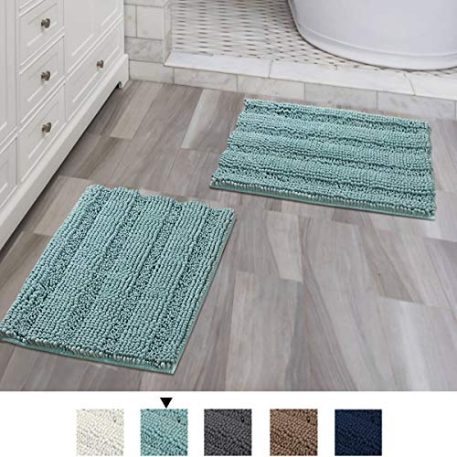 Bathroom Rugs Slip-Resistant Extra Absorbent Soft and Fluffy Thick Striped Bath Mat Non Slip Microfiber Shag Floor Mat Dry Fast Waterproof Bath Mat (Set of 2-17 x 24/17 x 24)