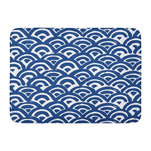- Kuytresdf Doormats Bath Rugs Outdoor/Indoor Door Mat Watercolor Pattern Sea Waves Batik Indigo Shibori Japanese of Indonesian Organic Bathroom Decor Rug 16
