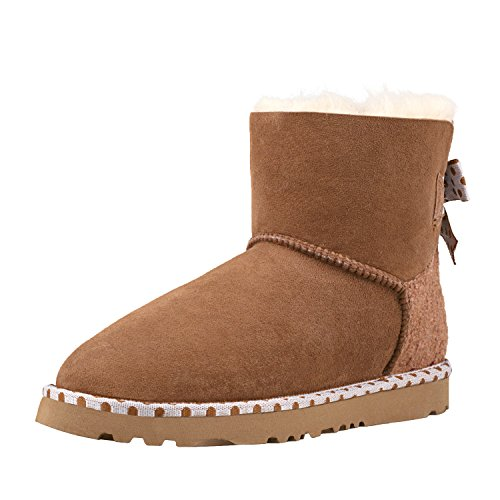 Shenduo Women's Boots Fashion Bowknot Dot Ankle Snow Boots D5079 Chestnut