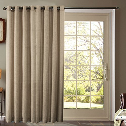 Furniture Fresh - Burlap Look - Blackout Thermal Faux Linen Pair of Curtain Panels - One Patio Panel - 102 Inches by 84 Inches - Beige (Patio Door Curtain Panel)