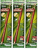 Dixon Ticonderoga Erasable Checking Pencils, Eraser Tipped, Pre-Sharpened, Set of 12, Carmine Red (14259) (3-Pack)