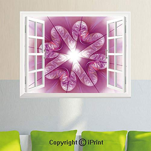 - Fashion Wall Sticker,Computer Rendered Abstract Fractal Flower Motif Gathered an Axis Polar Graphic Work,35.4X 23.6inch,Fake Window Simulation Stickers,Home DecorPink
