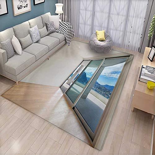 - Modern Floor Mat for Kids Penthouse Room with Wide Terrace Sliding Door Parquet Mountains Idyllic Art Bath Mat Non Slip 5'x6' Blue Beige White