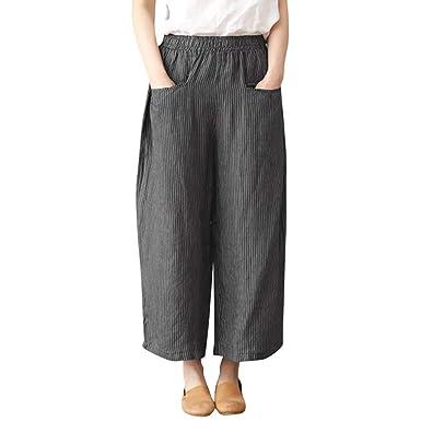 cf3302b1ed4d21 WUDUBE Pantalons Femmes,Coton et lin Décontractée Poche Pantalon ...
