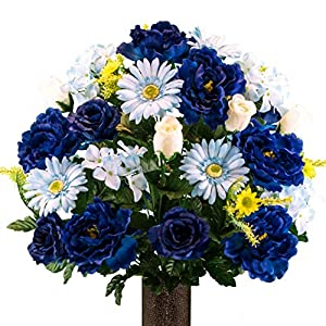Sympathy Silks Artificial Cemetery Flowers - Realistic Vibrant Daisies, Outdoor Grave Decorations - Non-Bleed Colors, and Easy Fit - Blue Mix Peony Daisy Bouquet with Flower Holder 71