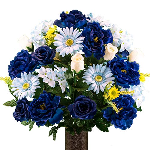 (Sympathy Silks Artificial Cemetery Flowers - Realistic Vibrant Daisies, Outdoor Grave Decorations - Non-Bleed Colors, and Easy Fit - Blue Mix Peony Daisy Bouquet with Flower Holder)