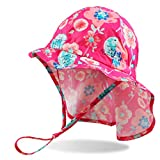 DUOYEREE Baby Sun-Hat UPF 50+ Quick-Dry Breathable Infant Sunhats Beach Cap (Rose, 6-12 Month)