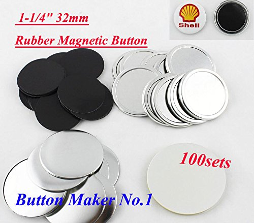 100sets Freezer Sticker1-1/4'' 32mm Rubber Magnetic Badge Button Make Hot Sale!!! by Unknown