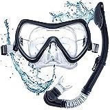 Snorkel Mask - Snorkel Set - Scuba Mask with Dry Snorkel Anti-fogging Lens & Dual Strap System
