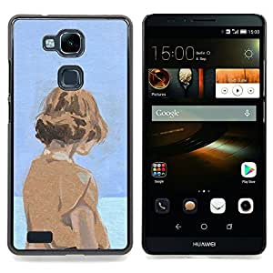 - Watercolor Blue Orange Girl Deep Sad - - Snap-On Rugged Hard Cover Case Funny HouseFOR HUAWEI Ascend Mate 7