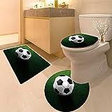 3 Piece Anti-slip mat set soccer footbal on grass field Non Slip Bathroom Rugs