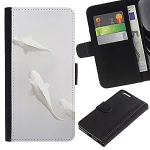 iBinBang / Flip Funda de Cuero Case Cover - Pescados del arte minimalista Papel Lápiz - Apple Iphone 6 PLUS 5.5