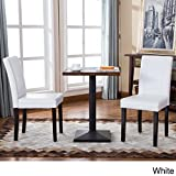 Modern Upholstered Faux Leather Parson Dining Chair with Solid Wood Legs in Espresso Finish - Includes Modhaus Living Pen (White)