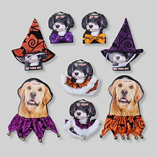 Halloween 4 pc Pet Costume Accessories - Hats, Bow Ties and Collar - for Cats and Small to Medium Size Dogs (Clever Cat Costume)