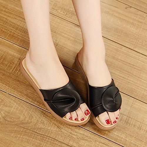 5 Moda Pantofole Materiale qualità Nero piatto colori da CN35 di Colore 5 FEIFEI donna alta dimensioni estiva Scarpe UK3 Fondo Beige Fiori Opzionale EU36 qw1gt0