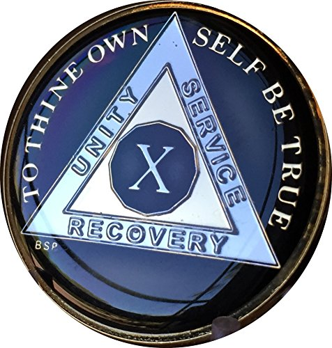 10 Year Classic Black AA Alcoholics Anonymous Medallion Sobriety Chip Tri Plate Gold & Nickel Plated Serenity Prayer