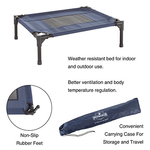 "PETMAKER Elevated Pet Bed-Portable Raised Cot-Style Bed W/Non-Slip Feet, 24.5""x 18.5""x 7"" for Dogs, Cats, and Small Pets-Indoor/Outdoor Use (Blue) by PETMAKER (Image #2)"