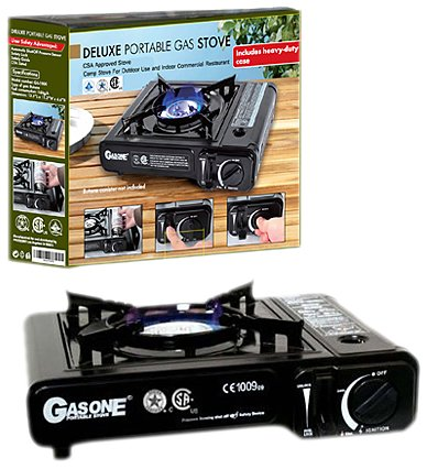 GasOne GS-3000 Portable Gas Stove with Color Box, Black, Outdoor Stuffs