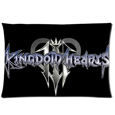 Custom Game Kingdom Heart Logo Pillowcase Rectangle Zippered Two Sides Design Printed 20x30 pillows Throw Pillow Cover Cushion Case Covers