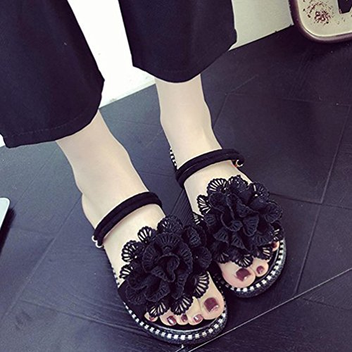 Sweet Flat Toe Top Slippers Open Floral Sandals for Low Women's Streetwear Jitong Black Holidays F1wqBx5nv