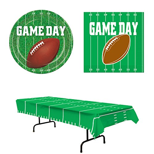 Football Party Supplies 33 Piece Bundle Set Tablecover Plates Napkins for 16 ()