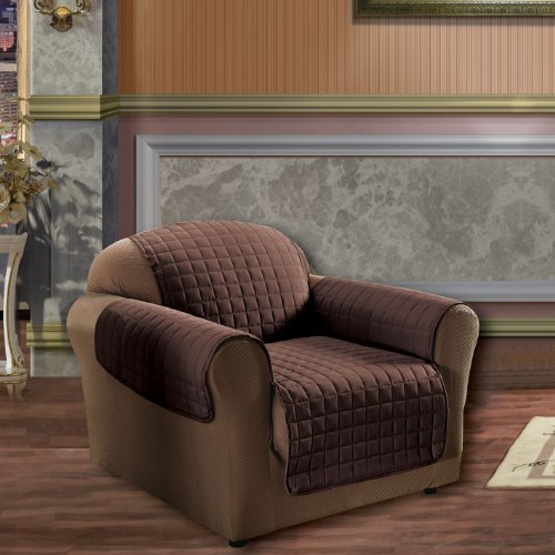 Elegance Linen Quilted Pet Dog Children Kids Furniture Protector Microfiber Slip Cover Chair, Chocolate Chocolate Chair1