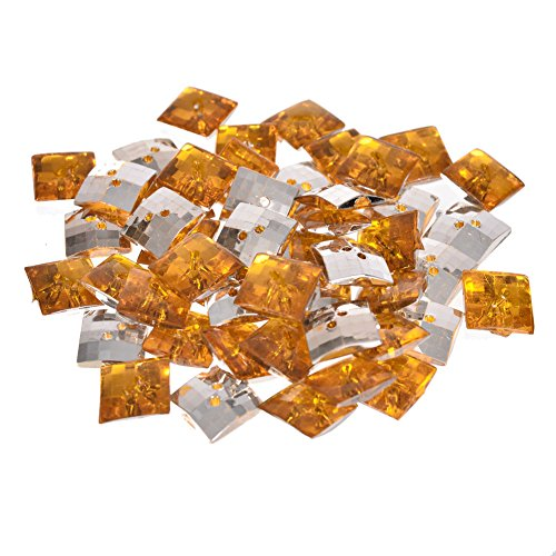 (Mibo Acrylic Jewel 2 Hole Button Bulk Packs of 50 in Assorted Sizes Amber 20 mm)