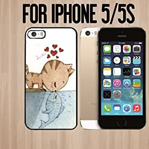 Cute Cat and Fish Love Custom made Case/Cover/skin FOR Apple iPhone 5/5S - Black - Rubber Case