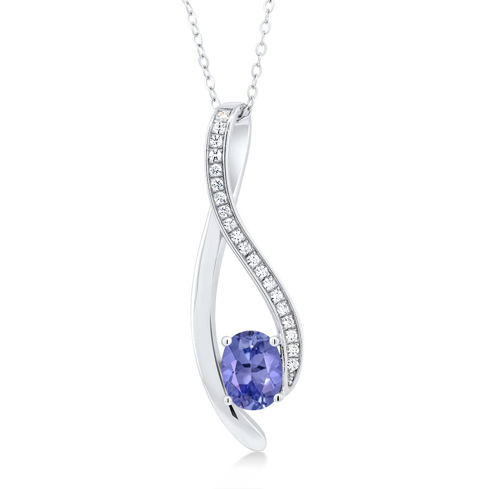 2.32 Ct Oval Blue Tanzanite 925 Sterling Silver Pendant and Earrings Set by Gem Stone King (Image #2)