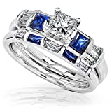 Blue Sapphire & Diamond Wedding Rings Set 1 1/4 Carat (ctw) In 14k White Gold