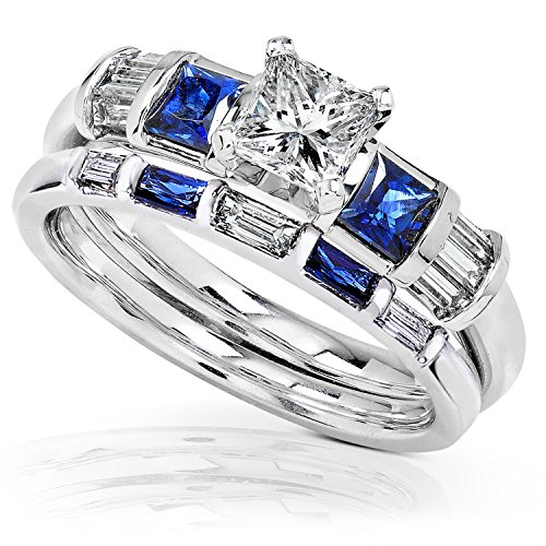 Blue Sapphire & Diamond Wedding Rings Set 1 1/4 Carat (ctw) In 14k White Gold