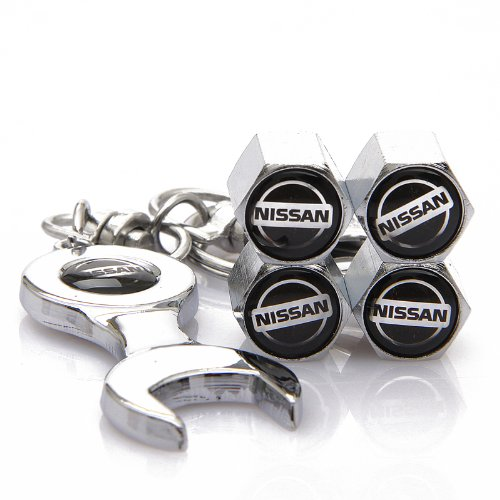 drr-wrench-keychain-chrome-tire-valve-stem-caps-for-nissan