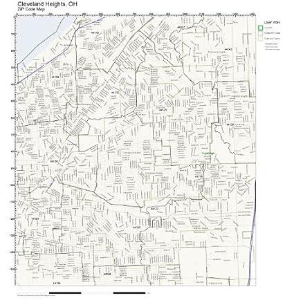 Amazon.com: ZIP Code Wall Map of Cleveland Heights, OH ZIP Code